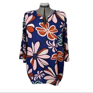 Bold floral tunic 3/4 sleeves 2X